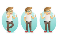 Cute smiling geek happy hipster with smartphone hold coffee in hand cartoon characters set  design vector Stock Photography