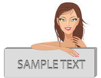 Cute smiling girl with banner Royalty Free Stock Images