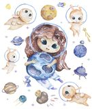 Cute smiling girl brown hair flowers in head take blue planet in hands set of satellites, planet and funny hamster Watercolor Set. Set of stickers with space