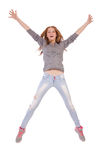 Cute smiling girl in gray blouse and jeans Stock Photos