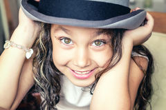 Cute smiling girl. With hat Royalty Free Stock Images