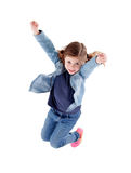Cute smiling girl jumping. Isolated on a white background Stock Photography