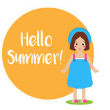 Cute smiling girl kid in blue summer dress and hat. Seasonal background, hello summer banner. Vector illustration Stock Photo