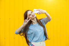 Cute smiling girl making selfie Royalty Free Stock Photography