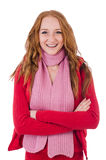 Cute smiling girl in red jacket and jeans isolated Royalty Free Stock Images