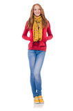 Cute smiling girl in red jacket and jeans isolated Royalty Free Stock Image