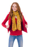 Cute smiling girl in red jacket and jeans isolated Royalty Free Stock Photos
