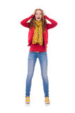 Cute smiling girl in red jacket and jeans isolated Stock Images