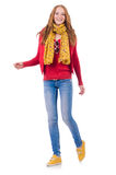 The cute smiling girl in red jacket and jeans Stock Photography