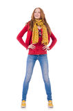 The cute smiling girl in red jacket and jeans Stock Images