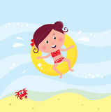 Cute smiling girl swimming in sea royalty free illustration