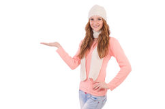 Cute smiling girl wearing scarf and cap isolated Stock Photos