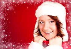 Cute smiling girl in xmas clothes Royalty Free Stock Photos