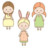 Cute smiling girls characters. Sweet cartoon little kids in summer dresses Stock Photos