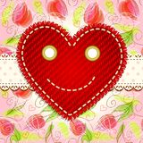 Cute smiling heart. Valentine`s day vintage card with smiling heart and lace Stock Photo