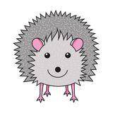 Cute smiling hedgehog art print. Decoration Stock Illustration