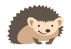 Cute smiling hedgehog kids cartoon illustration. Cute smiling small prickly hedgehog baby. Vector kids cartoon illustration. Pet zoo animal icon. Isolated on Stock Image
