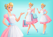Cute smiling housewife in apron in different poses. Vector set. royalty free illustration