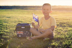 Cute smiling kid with flag of Australia Royalty Free Stock Image