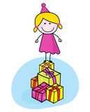 Cute smiling kid with presents isolated on white. Christmas or birthday party? Use my pink girl with presents in doodle style Royalty Free Stock Photo