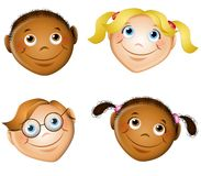 Cute Smiling Kids Faces stock illustration