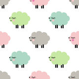 Cute smiling lambs seamless pattern on white background. Stock Photography
