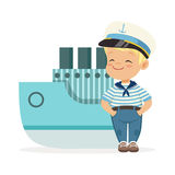 Cute smiling little boy character wearing a sailors costume standing next to a blue ship colorful vector Illustration Stock Image