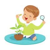 Cute smiling little boy examining a plant through a magnifying glass, preschool educational activities cartoon vector Stock Photography