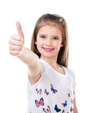 Cute smiling little girl with finger up isolated Stock Image