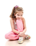Cute smiling little girl gymnast isolated Royalty Free Stock Image