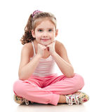 Cute smiling little girl gymnast isolated Stock Photo