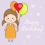 Cute smiling little girl holding balloons. Shappy Birthday greeting card design template. Vector illustration stock illustration