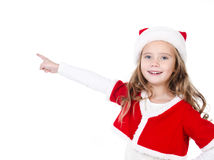 Cute smiling little girl with index finger Royalty Free Stock Photography