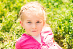 Cute smiling little girl on the meadow Royalty Free Stock Photos