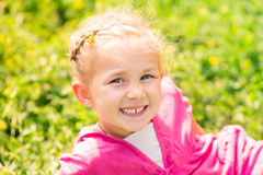 Cute smiling little girl on the meadow Stock Photography