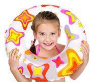 Cute smiling little girl with rubber ring Royalty Free Stock Images