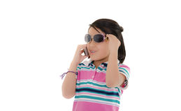 Cute smiling little hispanic girl in sunglasses Royalty Free Stock Images