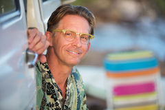 Cute Smiling Man Outdoors Stock Photo