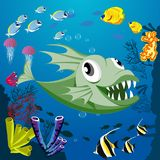 Cute smiling monster fish among marine habitats, coral and reefs. Vector illustration of sea landscape Stock Photo