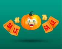 Cute smiling orange pampkin with scary decor of spider on cobweb holding shopping bags with bloody red text sale on dark green bac. Kground. Halloween shopping stock illustration