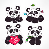Cute smiling pandas. Set of four cute smiling pandas. hand-drawn illustration Royalty Free Stock Image