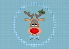 Cute smiling reindeer in circle on light blue background with plaid pattern, Christmas card design Royalty Free Stock Photo