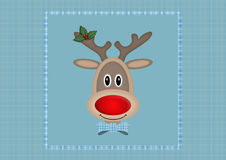 Cute smiling reindeer in square on light blue background with plaid pattern, Christmas card design Stock Photos