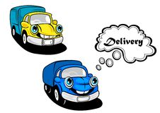 Cute smiling retro cartoon cars Stock Images