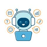 Cute smiling robot,chat bot stock illustration