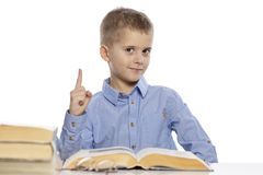 Cute smiling schoolboy sitting at the table with lessons. He raised his finger up. Isolated on a white background royalty free stock images