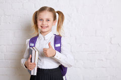 Cute smiling schoolgirl in uniform standing with books and showing ok on light background. Royalty Free Stock Photos