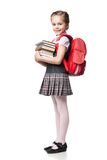Cute smiling schoolgirl in uniform standing on Stock Photos