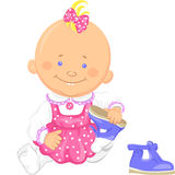 Vector cute baby girl learns to put on ones shoes. Cute smiling sitting baby girl learns to put on ones shoes, playing with sandals Royalty Free Stock Image