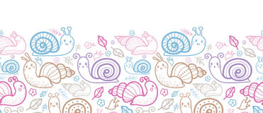 Cute smiling snails horizontal seamless pattern Stock Photo